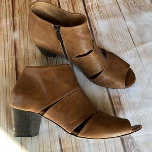 Gidigio Tan Soft Leather Peep Toe Booties Size 11